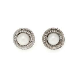 David Yurman Diamond Pearl Sterling Silver Cable Round Stud Earrings