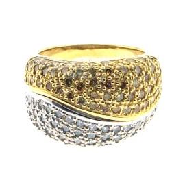 18K White Gold 2ct. Yellow & White Pave' Diamond Band Size 6.0
