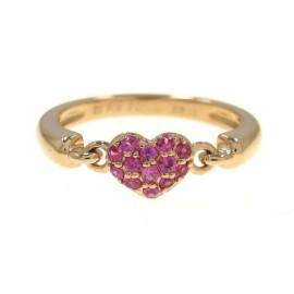 Ponte Vecchio 18k Rose Gold Pink Sapphire Heart Ring Size 5.25