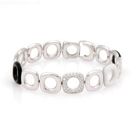 Tiffany & Co. 18K White Gold & Ceramic with 0.70ct Pave Diamond Link Bracelet
