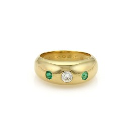 Cartier Gypsy 0.23ct. Diamond & Emerald 18K Yellow Gold Dome Band Ring Size 6.5