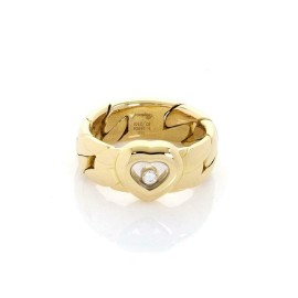Chopard Happy Diamond 18k Yellow Gold Heart Curb Link Flex 7mm Band Ring