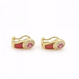 Faberge 1.88ct Diamond Sapphire & Enamel 18k Gold Post Clip Earrings