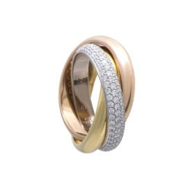 Cartier Trinity 18K Rose White and Yellow Gold Diamond Pave Rolling Band Ring