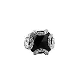 John Hardy 925 Sterling Silver Black Onyx & White Diamonds Ring Size 5.5