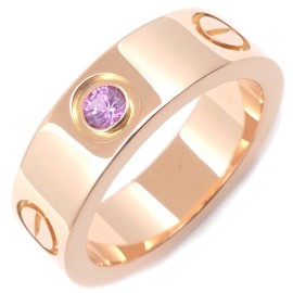 Cartier Love 18K Rose Gold with Pink Sapphire Ring Size 5.5