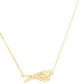 Tiffany & Co. Rose Gold Diamond Bow Pendant 18K
