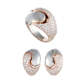 14K White and Rose Gold Diamond Pave Omega Earrings and Ring Set