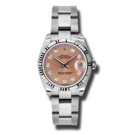 Rolex Datejust Steel and White Gold Pink Diamond Dial 31mm Watch