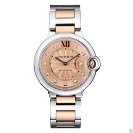 Cartier WE902054 Ballon Bleu Stainless Steel & Rose Gold Diamond 36mm Womens Watch