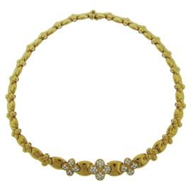 Van Cleef & Arpels Yellow Gold Clover Diamond Necklace