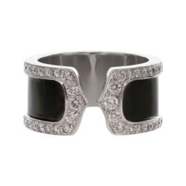 Cartier 18k Diamond Black Lacquer Double C Decor Large Ring