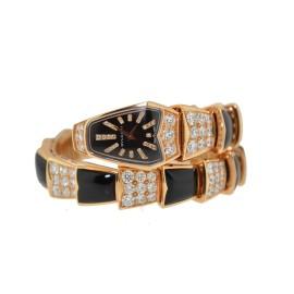 Bulgari Serpenti Snake 18K Rose Gold Onyx Diamond Watch