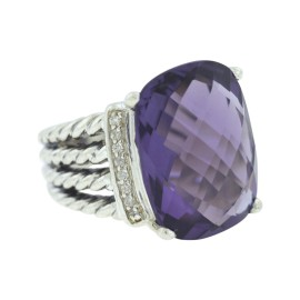 David Yurman Wheaton 925 Sterling Silver With Amethyst & Diamonds Ring Size 5.5