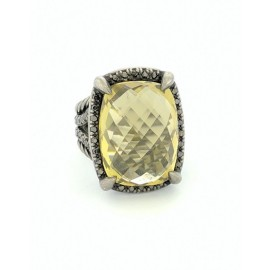 David Yurman 925 Sterling Silver with Lemon Citrine & Diamond Chatelaine Ring Size 6.5