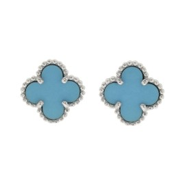Van Cleef & Arpels 18K White Gold with Turquoise Sweet Alhambra Earrings