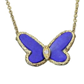 Van Cleef & Arpels 18K Yellow Gold with 0.03ct. Diamond and Lapis Lazuli Butterfly Necklace
