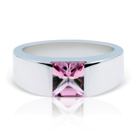 Cartier Tank 18K White Gold with Pink Tourmaline Ring Size 5