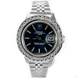 Rolex 69240 1.63 Ct Diamond Bezel Oyster Perpetual Date Steel Women's Watch