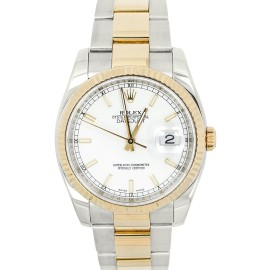 Rolex 116233 Datejust Champagne Index Dial 18K Stainless Steel Saint Blanc Men's Watch
