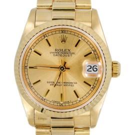 Rolex Datejust 68278 President 18K Gold Fluted Bezel Ladies Watch