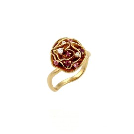 Louis Vuitton Louisette 18K Yellow Gold with Diamond Ruby & Pink Sapphire Ring Size 4.75
