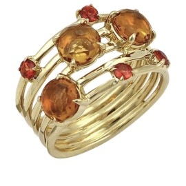 Ippolita Lollipop 18K Yellow Gold with Citrine and Sapphire Band Ring Size 7