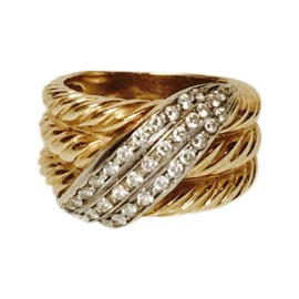 David Yurman 18K Yellow Gold with 0.50ct. Diamond Cable Crossover 3 Row Ring Size 5