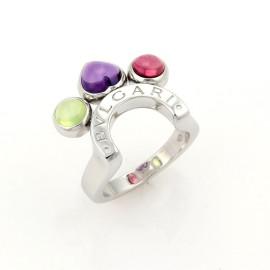Bulgari Allegra 18K white Gold Amethyst Pink & Green Tourmaline Ring