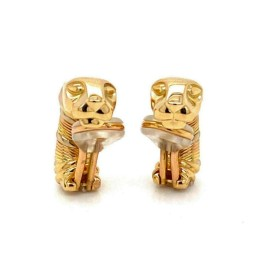 Cartier Panthere 18k Tri-Color Gold Clip On Earrings w/Paper