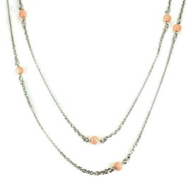 Chopard 18k White Gold Coral Beads Sautoir Long Chain Necklace w/Cert.