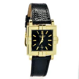 Longines Wittnauer 14K Gold Case Black Dial  Quartz Mens Watch