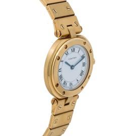 Cartier Santos Midsize Women's Quartz Watch 18K Yellow Gold Vendome 27MM