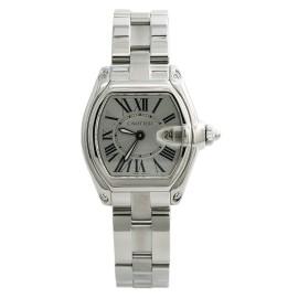 Cartier Roadster 2675 W62016V3 Womens Quartz Watch Silver Dial SS 31mm