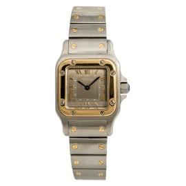Cartier Santos Galbee 1567 Womens Quartz Watch 18k Two Tone SS 24mm
