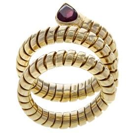 Bulgari 18K Yellow Gold Tourmaline, Diamond Ring Size 7