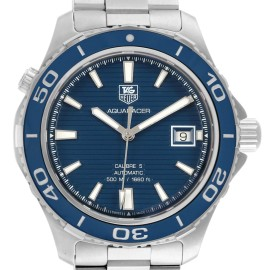 Tag Heuer Aquaracer Calibre 5 500M Steel Mens Watch WAK2111 Box Card