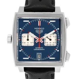 14de50619f2 Tag Heuer Monaco Chronograph Blue Dial Mens Watch CAW211P Box Card
