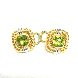 Vintage David Yurman 18K Yellow Gold Renaissance Peridot Earrings