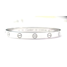 Cartier 18K White Gold Love Bracelet Size 17