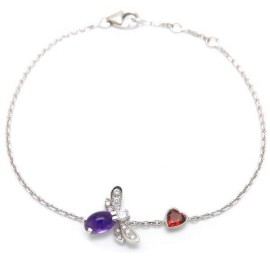 Chaumet 18K White Gold with Amethyst Garnet and Diamond Bracelet