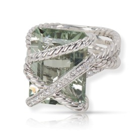 David Yurman Prasiolite and Diamond Cable Wrap Ring in Sterling Silver