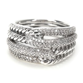 David Yurman Labyrinth Double Loop Diamonds Ring in Sterling Silver 0.58ctw