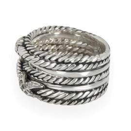 David Yurman Double X Crossover Diamond Ring in  Sterling Silver 0.09 CTW