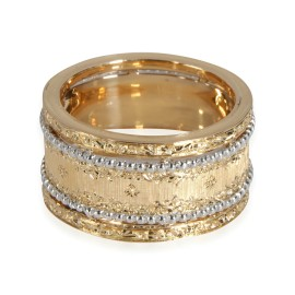 Buccellati Bead & Lace Design Band in 18K White Gold/Yellow Gold