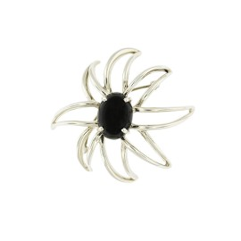 Tiffany & Co. 925 Sterling Silver Fireworks Onyx Brooch