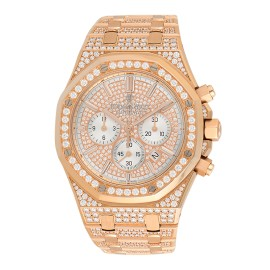 Audemars Piguet 18k Rose Gold Royal Oak Chronograph 26322OR.ZZ.1222OR.01 Pave Diamonds Mens Watch
