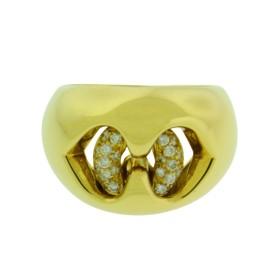 Bulgari 18K Yellow Gold & Diamond Open Heart Interlocking Ring Size 5.5