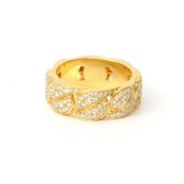 Cartier La Dona Band Ring 750 Yellow Gold with Diamond Size 8.0