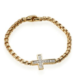 David Yurman Pave Collection Diamond Cross Bracelet in 18K Yellow Gold 0.46 CTW